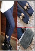 2013 fall hot girls children jeans baby cotton cashmere bow pants kid warm leggings autumn winter leggings for girls