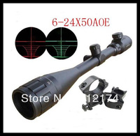 Black 6-24x50 AOE Red & Green Illuminated Dot Rifle Scope Sight 20mm Rail Mounts