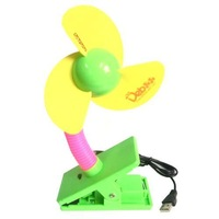 Baby car fan usb battery dual-use clip fan with light flash gift