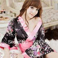 Free Shipping!!! Hotsale Sexy Lingerie  Kimono Dress Set Soft Sleepwear Flower Back Underwear  Uniform  Kimono Costume