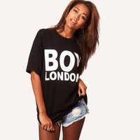 Womens Cropped Tops T shirt Boy London Short Sleeve  White Black Plus size  XS-XXL