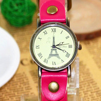 Pu vintage eiffel tower watch mens watch ladies watch lovers table