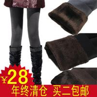 2 plus velvet thickening warm pants legging velvet double layer thickening boot cut jeans warm pants