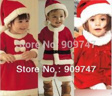 Christmas Children Suit Baby Boys Girls Christmas Jumpsuit girls Bow dress + Hat Set Child Clothing Kids clo