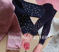 5pcs/lot girls cotton solid leggings pants girl's dark blue pink lace legging Free shipping