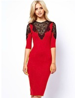 Hot ! 2013 new arrival elegant women sexy lace hollow out patchwork sheath cocktail dress half sleeve knee-length Dresses 1005