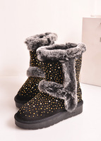 2013 winter boots rabbit fur rhinestone snow boots female boots medium-leg platform genuine leather boots cotton-padded shoes
