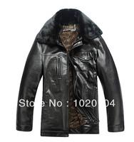 Free Shipping Fashion brand 2013 Middle-aged men's leather winter plus velvet warm hot leather jacket Large size leather coat
