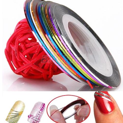 10 Color 20m Rolls Nail Art UV Gel Tips Striping Tape Line Sticker DIY Decoration 1NM2(China (Mainland))