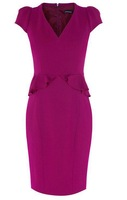 Stunning ! high quality 2013 New fall fashion elegant laidies ruffles waist slim pencil dress v-neck fitted Dresses 1005