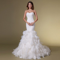 Elegant brief fish tail wedding dress tube top slim pleated ruffle 2013