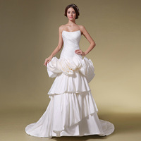Elegant tube top wedding dress bright satin train pleated slim 2013