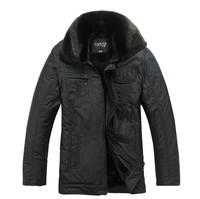 Free Shipping Fashion brand 2013 middle-aged men's winter coat jacket plus thick velvet jacket casual jacket collar Nagymaros
