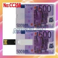 Wholesale 4GB 8GB 16GB 32GB 64GB 500 Euro flash card USB Flash memory card Stick Pen Drive,usb flash card Free shipping #CC258