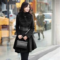 women's coats winter fashion 2014 medium-long slim fur collar thickening elegant solid color woolen overcoat for woman C874