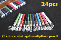 24 pcs  brand high quality Mini travel Eyeline Pencils 12 Colour Eyeliners makeup