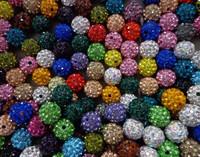 10mm 300pcs/lot Mixed color in random CZ Disco Ball Shamballa Crystal  Beads.Wholesale! Stock!Mixed Lot!Bracelet DIY jewelry