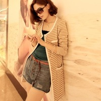 Spring and autumn ol gentlewomen sweet stripe cardigan knitted outerwear medium-long slim thin trench