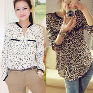 New 2013 Women Chiffon Sexy Leopard Print Summer long sleeve Shirt Top Button Down Blouse S/M/L plus size(China (Mainland))