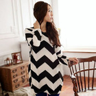 big size l-xl Women Stripes Crewneck Long Sleeve Casual Loose Sweater Knitted Tops free shipping(China (Mainland))