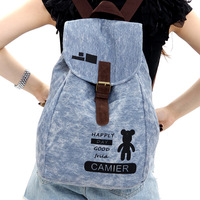 Fashion vintage cut backpack women's trend bear canvas casual backpack travel bag