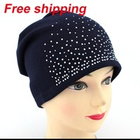 2013 hot edition set of head cap pure color with diamond hat Female Knitting Wool Warm Hats free shipping
