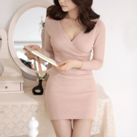 Autumn new arrival women's sexy slim cross V-neck knitted long-sleeve dress slim hip skirt Free shipping L0382