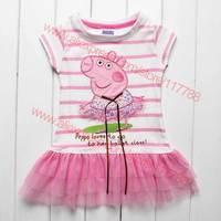 Retail New 2014 Peppa Pig girl dress, girl clothing, short sleeve, striped, pink, ribbon, 100% cotton, Free Shipping