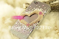 Fashionable 3pcs/a lot Diamond Loving Heart Bling Case,Transparent Case For phone5 GZP-C08
