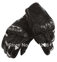 Free shipping !!! Leather +carbon DAN Motorcycle Bike full finger Protective gear Racing Gloves  SIZE:M/L/XL
