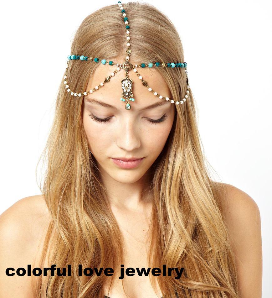 Fashion Jewelry Wholesale Lots Bohemian Korean Pearl blue Retro Statement Retro Headbands Hair Chain Acessories for Women A-518(China (Mainland))
