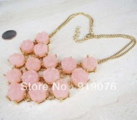 Free Shipping The Newest 18K GOLD OVERLAY DRUZY BIB  NECKLACE PINK DRUZY