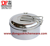 Double Roll-up Hem Boxes Stainless Steel Lunch Box Food Carrier Water Grid Round  Boxes Double Layer