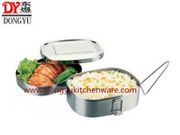 Stainless Steel Square Lunch Box, Double Layesrs  Square Shape Food Kit for Export