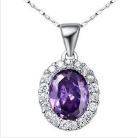 Fashion jewelry,925 Sterling Silver Amethyst Pendant sent necklace ,wholesale,SYP0302A