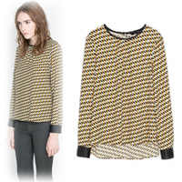 2014 autumn and winter in Europe and America Fan spell color diamond pattern round neck pullover chiffon shirt