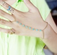 Charming Gold Plated  Chains  Round  Acrylic   Pendant Conjoined Bracelet With Finger Ring,12pcs/lot,3 colors