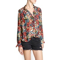 2014 new European and American street flowers printed long-sleeved chiffon shirt