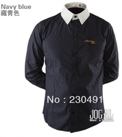 2013 autumn hot selling Men's Fashion long-sleeved pure colour shirt free shipping by china post,code number:395