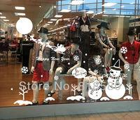 Free Shipping Home Decor Christmas Snowman Winter Window Decoration Vinyl Wall Art Stickers Wall Decals(170 x 150cm/piece)
