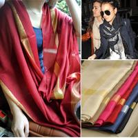 Fashion autumn and winter 2013 metallic yarn scarf large cape mercerized cotton oversized female h22 measurement