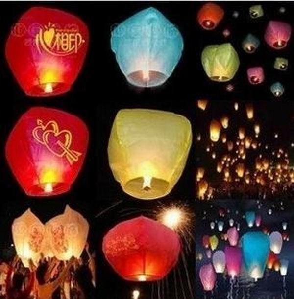 5pcs/Lot Promotion Chinese Conventional Festival Balloon UFO Lamp Kongming Wishing Sky Lanterns Wedding Party Paper Lights(China (Mainland))