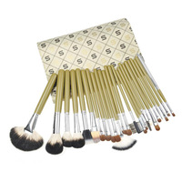 Free shipping 24pcs Professional Cosmetic Makeup Brush Set with Green plaid brushes pack GOAT HAIR