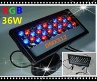 Holiday Lighting DMX512 External Control 36W RGB LED Wall Washer Waterproof IP65 LED Floodlight Stage Light -Fedex Free Shipping