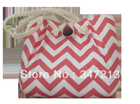 New arrival fashion canvas handbag messenger bag wave print coral pink shell shape