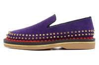 Size:39-46 Hot Popular Men's Red Bottom Purple Suede Rubber Sole Gold Spikes Low Top Loafers,Designer Brand Flat Casual Shoes