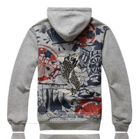 2013 autumn high quality embroidery carousingly plus velvet with a hood sweatshirt male personality outerwear