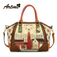 Artmi Brands 2013 Fashion Smile Sweet Retro Print High-quality PU Leather Women Bag Shoulder Bag Large Package Hand Messenger