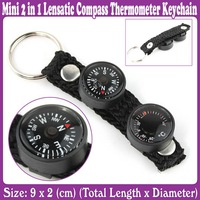 10 pcs/Lot_New Mini 2 in 1 Lensatic Compass Thermometer Keychain