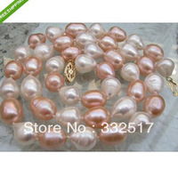 New fine pearl jewelry Natural AAA+ akoya white pink bizarre pearl necklace 25 inches 14KG